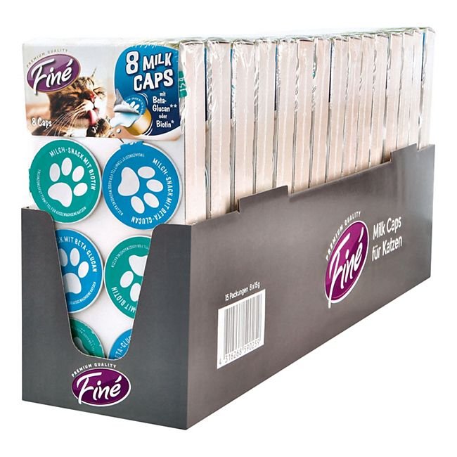 Finé Katzenfutter Milk Caps 120 g, 15er Pack - Bild 1