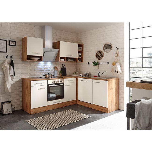 Respekta Economy L-Küchenblock, Wildeiche Nachbildung, 220 x 172 cm - Fronten weiß - Bild 1