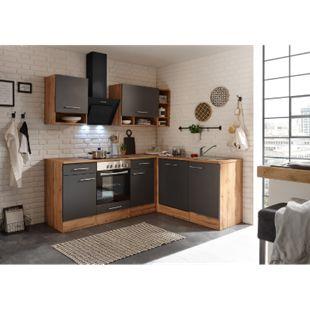 Respekta Economy L-Küchenblock BEKBL220EGC, Wildeiche Nachbildung, 220 x 172 cm - Fronten grau - Bild 1