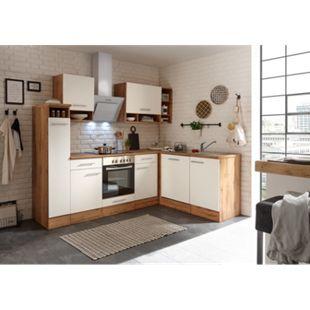 Respekta Economy L-Küchenblock, Wildeiche Nachbildung, 250 x 172 cm - Fronten weiß - Bild 1