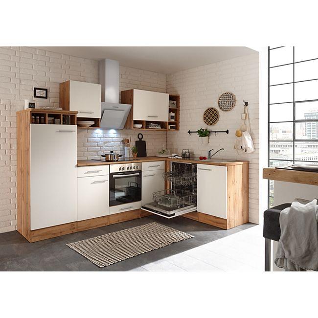 Respekta Economy L-Küchenblock, Wildeiche Nachbildung, 280 x 172 cm - Fronten weiß, inkl. Kühlschrank - Bild 1