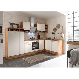 Respekta Economy L-Küchenblock BEKBL310EWC, Wildeiche Nachbildung, 310 x 172 cm - Fronten weiß, inkl. Kühlschrank - Bild 1