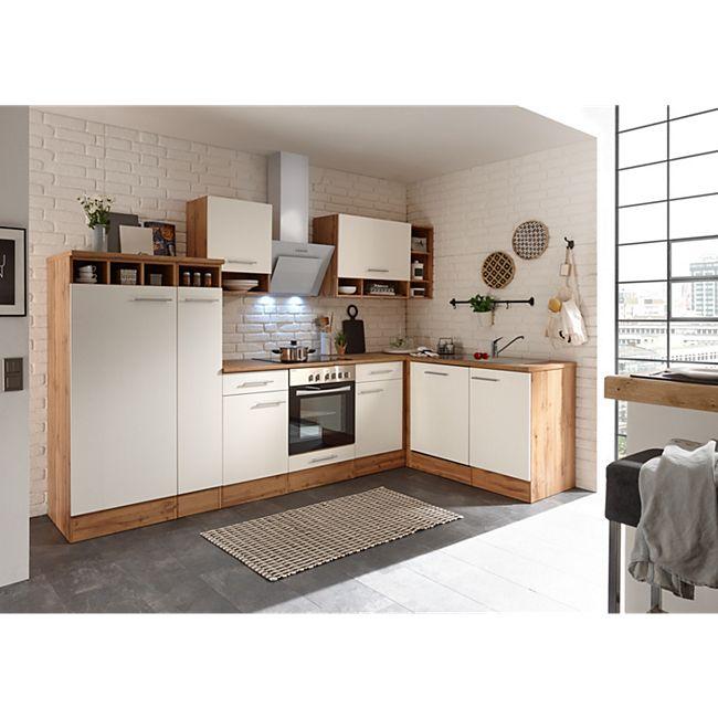 Respekta Economy L-Küchenblock, Wildeiche Nachbildung, 310 x 172 cm - Fronten weiß, inkl. Kühlschrank - Bild 1