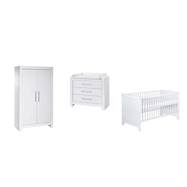 Schardt Kinderzimmer-Set  - NORDIC WHITE - Schrank 2-türig, Kombi-Kinderbett, Umbauseiten, Wickelkommode - Bild 1