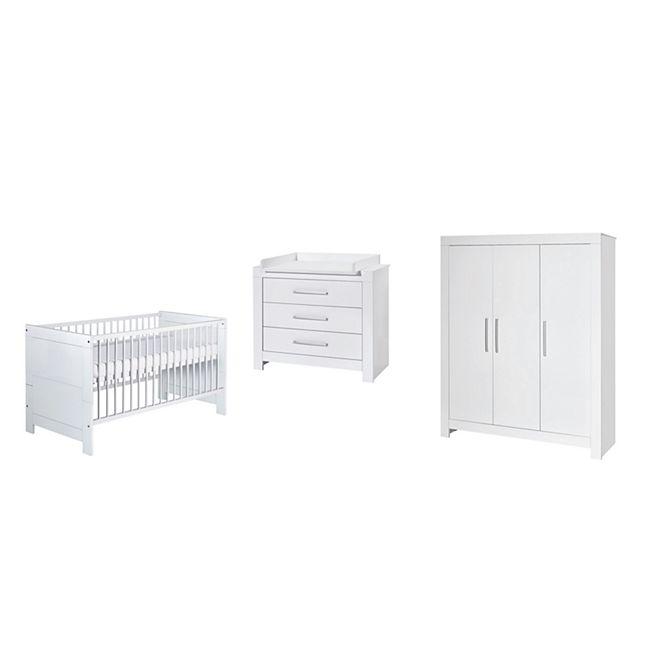 Schardt Kinderzimmer-Set - NORDIC WHITE - Schrank 3-türig, Kombi-Kinderbett, Umbauseiten, Wickelkommode - Bild 1