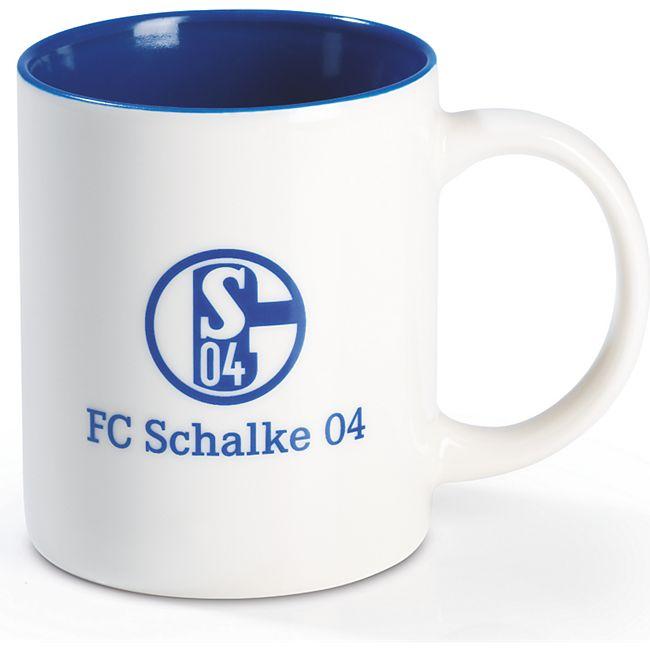 S04 Kaffeebecher 350ml blau/weiß mit Logo - Bild 1