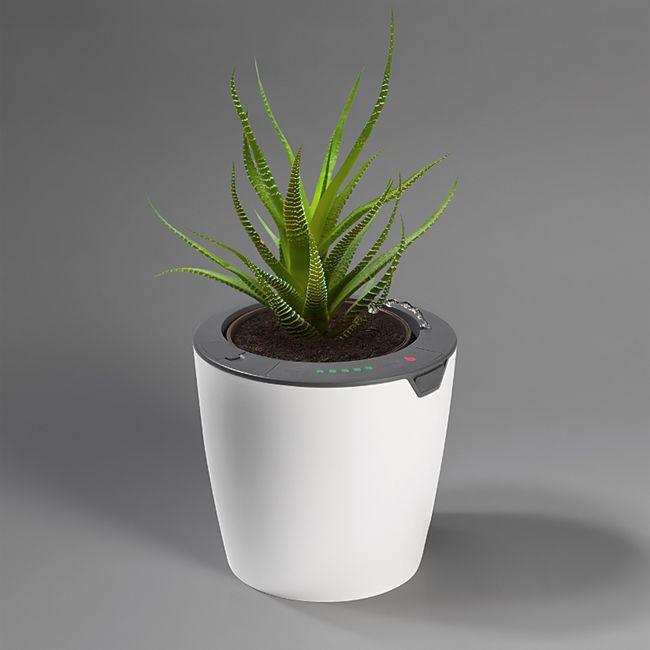 LazyLeaf Blumentopf selbstgießend 1,1l 17cm weiß/grau Micro-USB 1200mAh - Bild 1