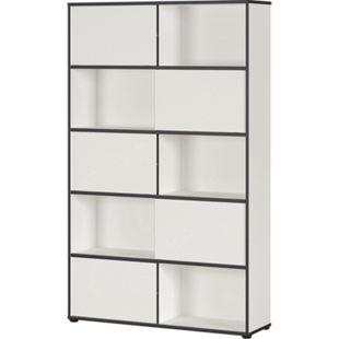 Germania LAREDO - Schiebetürregal mit 10 fächern, weiß/schwarz, ca. 120 x 196 x 35 cm (BxHxT) - Bild 1