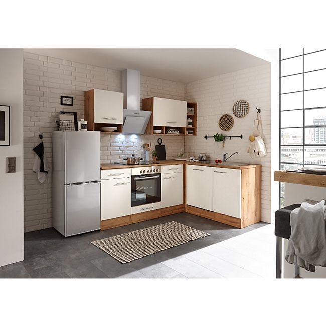 Respekta Economy L-Küchenblock, Wildeiche Nachbildung, 220 x 172 cm - inkl. Standkühlschrank KG142A++SILF, Front weiß - Bild 1