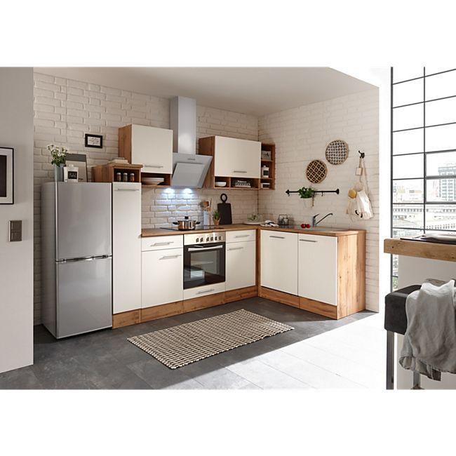 Respekta Economy L-Küchenblock BEKBL250EW142SIB, Wildeiche Nachbildung, 250 x 172 cm - inkl. Standkühlschrank KG142A++SILF, Front weiß - Bild 1