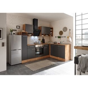 Respekta Economy L-Küchenblock BEKBL250EG142SIB, Wildeiche Nachbildung, 250 x 172 cm - inkl. Standkühlschrank KG142A++SILF, Front grau - Bild 1