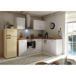 Respekta Premium Winkelküche Landhaus, 220 cm x 172 cm, Retrokühlschrank, Mineralitspülbecken, Lärche Weiß Nachbildung - Bild 1