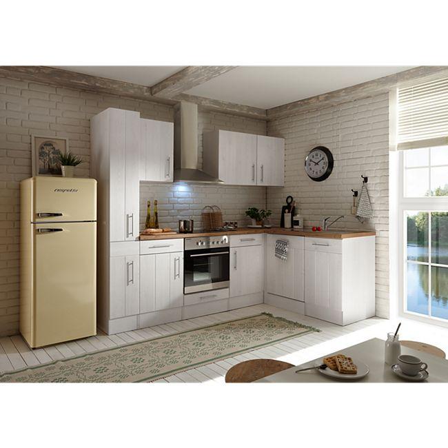 Respekta Premium Winkelküche Landhaus, 250 cm x 172 cm, Retrokühlschrank, Mineralitspülbecken, Lärche Weiß Nachbildung - Bild 1