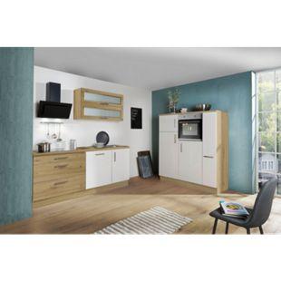 Menke Küchen Küchenblock Alessa 350 cm, inkl. Geschirrspüler - Weiß Hochglanz / Artisan-Eiche Nachbildung - Bild 1