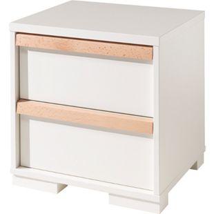 Vipack LONDON - Nachtkonsole mit 2 Schubladen, Weiß Dekor, Absatz Buche natur massiv - Bild 1