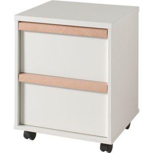 Vipack LONDON - Rollcontainer mit 2 Schubladen, Weiß Dekor, Absatz Buche natur massiv - Bild 1