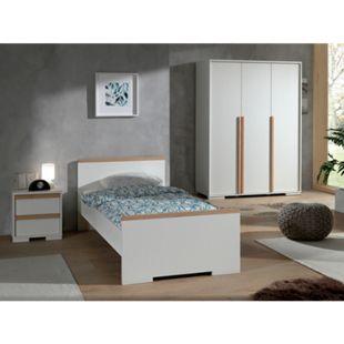 Vipack LONDON - Jugendzimmer Set 3-teilig, 1x Einzelbett 90 x 200 cm, 1x Nachtkonsole, 1x Kleiderschrank 3-trg., Dekor Weiß, Absatz Buche natur massiv - Bild 1