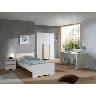 Vipack LONDON - Jugendzimmer Set 4-teilig, 1x Einzelbett 90 x 200 cm, 1x Nachtkonsole, 1x Kleiderschrank 3-trg., 1x Schreibtisch, Dekor Weiß, Absatz Buche natur massiv - Bild 1