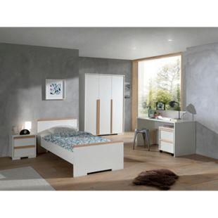 Vipack LONDON - Jugendzimmer Set 5-teilig, 1x Einzelbett 90 x 200 cm, 1x Nachtkonsole, 1x Kleiderschrank 3-trg., 1x Schreibtisch, 1x Rollcontainer, Dekor Weiß, Absatz Buche natur massiv - Bild 1