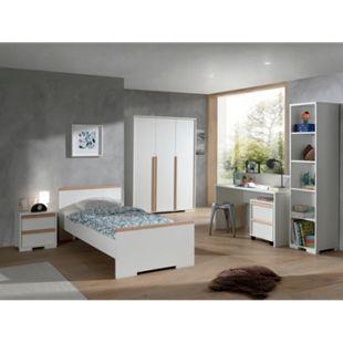 Vipack LONDON - Jugendzimmer Set 6-teilig, 1x Einzelbett 90 x 200 cm, 1x Nachtkonsole, 1x Kleiderschrank 3-trg., 1x Schreibtisch, 1x Rollcontainer, 1x Regal, Dekor Weiß, Absatz Buche natur massiv - Bild 1