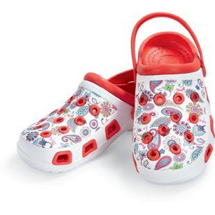 Damen oder Herren Clogs, verschiedene Ausführungen & Größen - Damen Clogs, rot mit Blumen, Gr. 38 - Bild 1