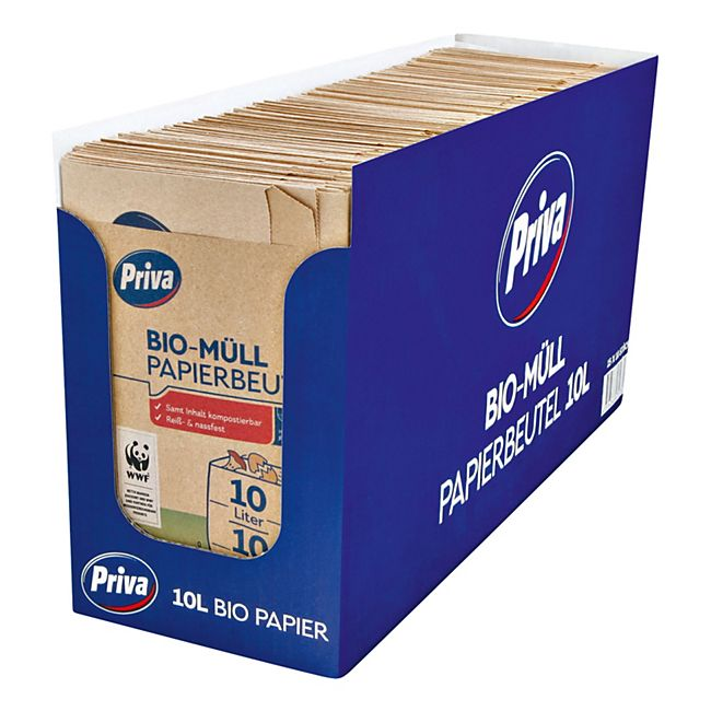 Priva Bio Müll Papierbeutel 10 x 10 L, 15er Pack - Bild 1