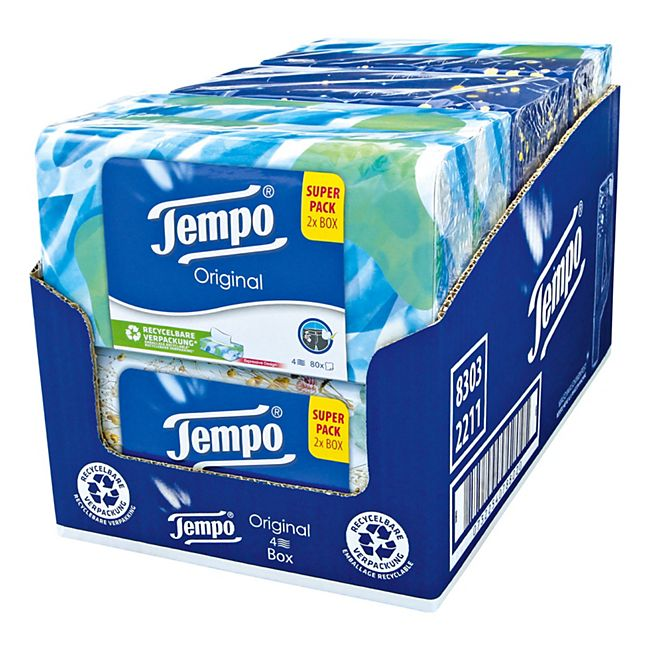 Tempo Duo-Box Original 160 Blatt, 6er Pack - Bild 1