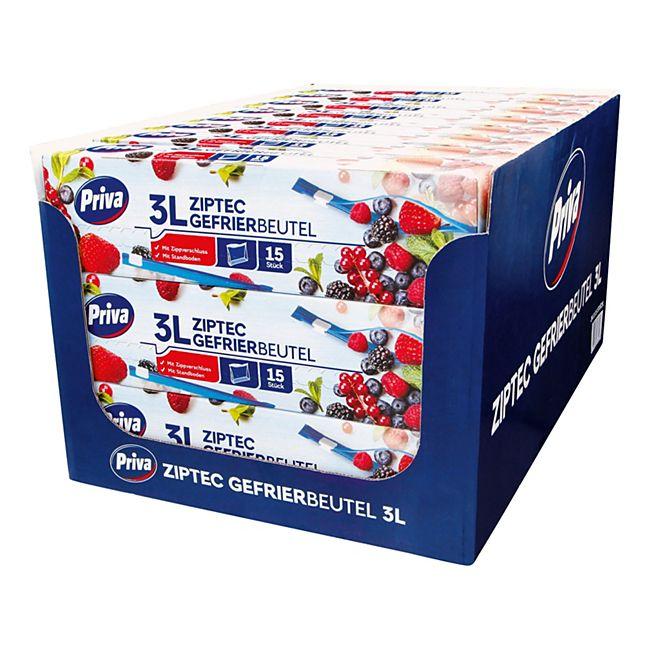 Priva Gefrier-Allzweckbeutel mit Ziptec 15 x 3 L, 24er Pack - Bild 1
