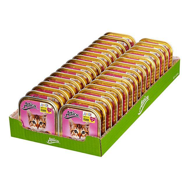 Attica Katzenfutter Junior Huhn 100 g, 32er Pack - Bild 1