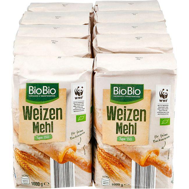 BioBio Weizenmehl Typ 550 1 kg, 10er Pack - Bild 1
