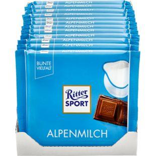 Ritter Sport Alpenmilch Schokolade 100 g, 12er Pack - Bild 1