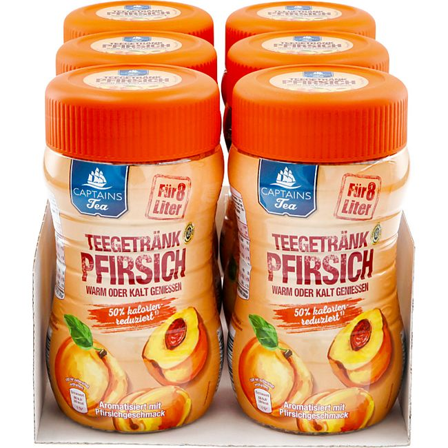 Captains Tea Instanttee Pfirsich 400 g, 6er Pack - Bild 1
