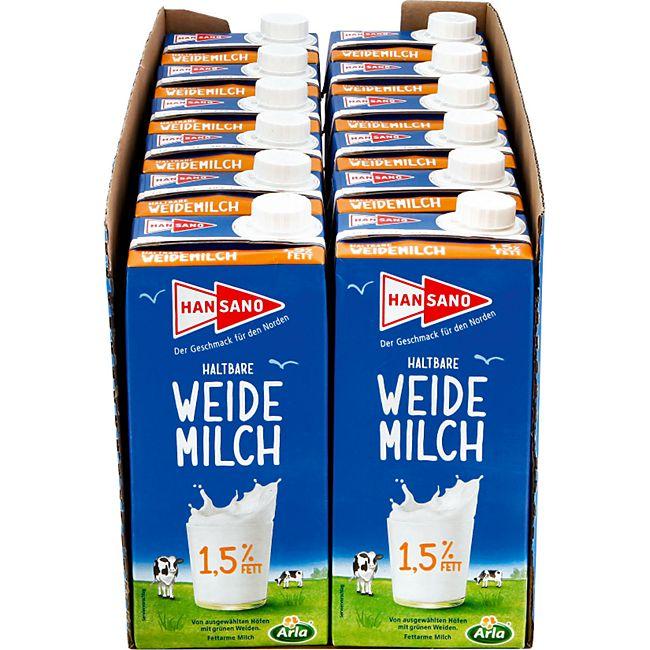 Hansano haltbare Weidemilch 1,5% 1 Liter, 12er Pack - Bild 1