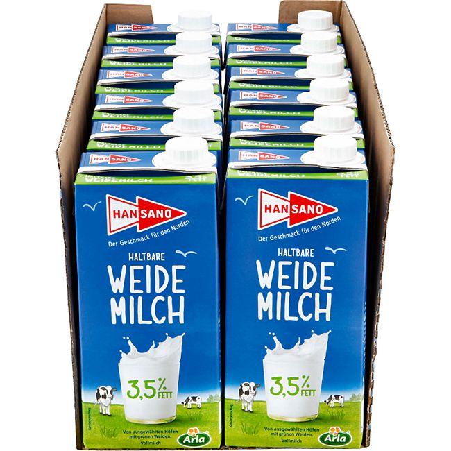 Hansano haltbare Weidemilch 3,5% 1 Liter, 12er Pack - Bild 1