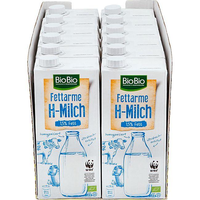BioBio H-Milch 1,5 % 1 Liter, 12er Pack - Bild 1