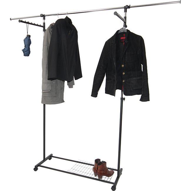 Luxus Kleiderwagen Kleiderständer Rollgarderobe, fahrbar, mit Seitenhanger ausziehbar - Bild 1