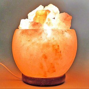 Salzkristall-Leuchte MCW-G97, Tischlampe Tischleuchte Nachtlampe, Stein 15x14x14cm - Bild 1