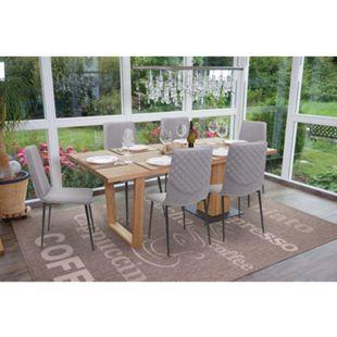 6x Esszimmerstuhl MCW-F47, Stuhl Küchenstuhl, Vintage ~ Stoff/Textil, grau - Bild 1