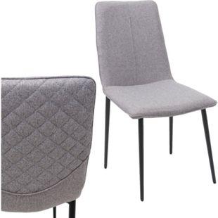 2x Esszimmerstuhl MCW-F47, Stuhl Küchenstuhl, Vintage ~ Stoff/Textil, grau - Bild 1
