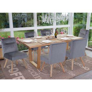 6x Esszimmerstuhl MCW-F38, Stuhl Küchenstuhl, Retro Design Samt ~ grau - Bild 1