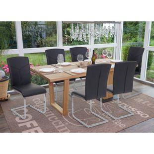 6x Esszimmerstuhl MCW-F36, Freischwinger Küchenstuhl Konferenzstuhl ~ Kunstleder, schwarz - Bild 1