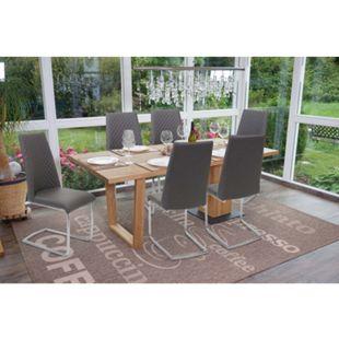 6x Esszimmerstuhl MCW-F31, Stuhl Küchenstuhl Freischwinger, Kunstleder ~ dunkelgrau - Bild 1