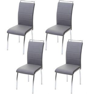 4x Esszimmerstuhl MCW-F30, Stuhl Küchenstuhl, Kunstleder Chrom ~ hellgrau - Bild 1