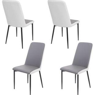 4x Esszimmerstuhl MCW-F26, Stuhl Küchenstuhl, Kunstleder ~ Sitzfläche grau - Bild 1