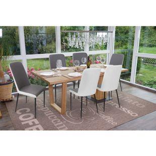 6x Esszimmerstuhl MCW-F26, Stuhl Küchenstuhl, Kunstleder ~ Sitzfläche grau - Bild 1