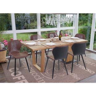 6x Esszimmerstuhl MCW-F24, Stuhl Küchenstuhl, geschwungene Sitzform Kunstleder ~ braun - Bild 1