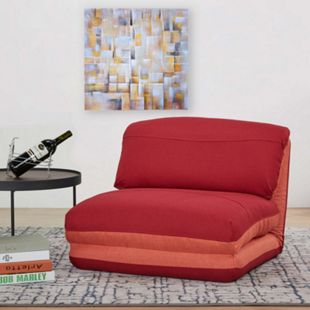 Schlafsessel MCW-E68, Schlafsofa Funktionssessel Klappsessel Relaxsessel, Stoff/Textil ~ orange/dunkelrot - Bild 1