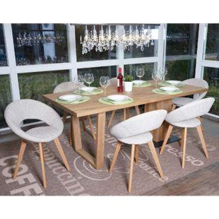 6x Esszimmerstuhl Almada III, Stuhl Küchenstuhl, Retro 50er Jahre Design ~ Textil, creme/grau - Bild 1