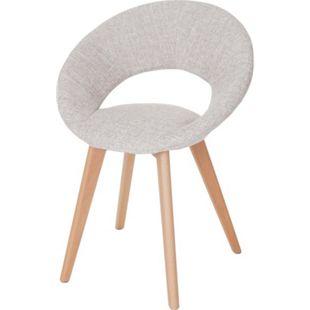 Esszimmerstuhl Almada III, Stuhl Küchenstuhl, Retro 50er Jahre Design ~ Textil, creme/grau - Bild 1