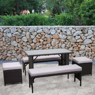 Poly-Rattan Garnitur MCW-G16, Balkonset Gartensitzgruppe, Gastronomie 2xBank Tisch 2xHocker ~ schwarz, Kissen hellgrau - Bild 1